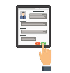employer on the tablet looking resume vector image