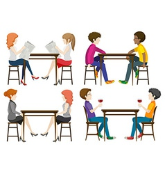 Faceless people at the table vector