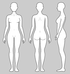 Female Body From Three Angles Vector