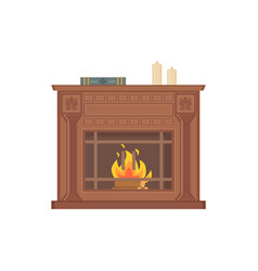 fireplace with decorative vases and ornaments vector image