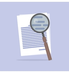 Flat of document search icon vector
