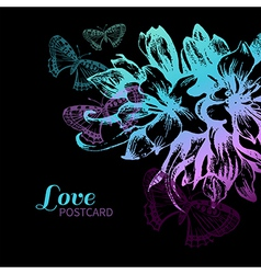 Floral love card vector