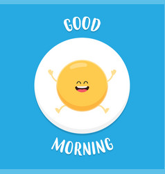 funny fried egg raises hands and smiles vector image