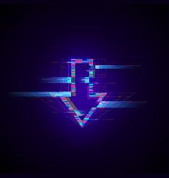 Futuristic cyberpunk glitch down arrow modern vector