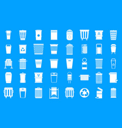 garbage can icon blue set vector image