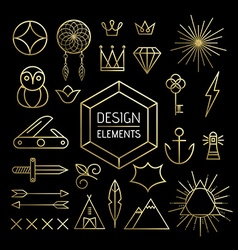 Gold line art outline elements set boho nature vector