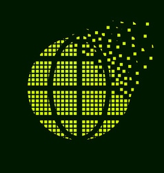 green globe flying pixel symbol vector image