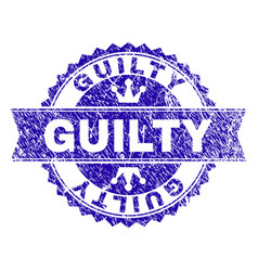 Grunge textured guilty stamp seal with ribbon vector