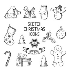 Hand-drawn Christmas icons vector image