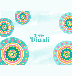 happy diwali text with colorful rangoli vector image