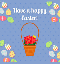 happy easter blue card with eggs vector image