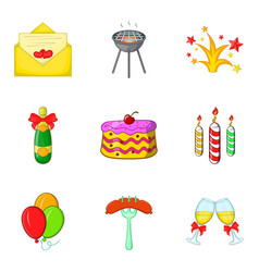 Holiday stroll icons set cartoon style vector