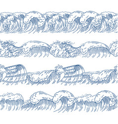 horizontal seamless patterns with different ocean vector image