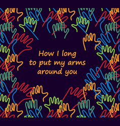 hug doodles lines hands card with love sign vector image