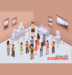 Isometric museum exhibition background vector