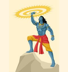 Lord krishna holding sudarshan chakra vector