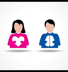 Male Female icon having heart and brain vector