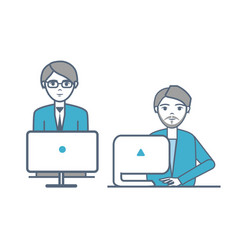 Males wearing formal suits sitting laptops vector
