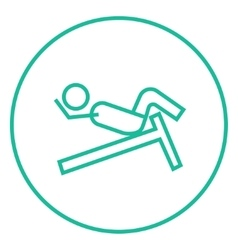 Man doing crunches on incline bench line icon vector image