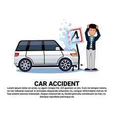 Man with broken car over background with copy vector