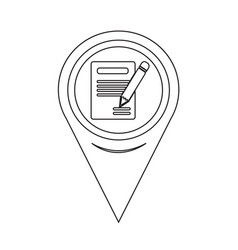 Map pointer pencil icon and notebook icon vector