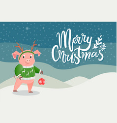 merry christmas postcard with pig in green sweater vector image