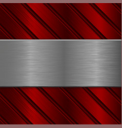 metal background iron brushed texture on red vector image