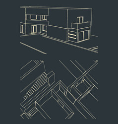 modern house drawings vector image