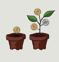 money investment coin plant investment create tree vector image