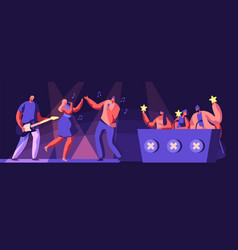 music band take part in talents show artists vector image