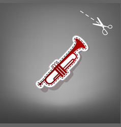 musical instrument trumpet sign red icon vector image