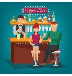 Night Bar Design Concept vector