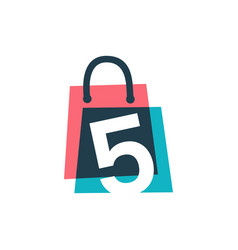 Number five 5 shop store shopping bag overlapping vector