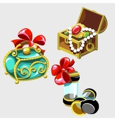 Open treasure chest and closed casket princess vector