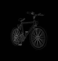 outline detailed bike of white lines on a black vector image