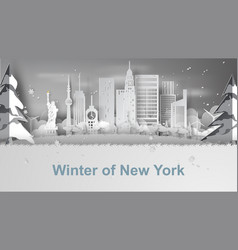 paper art of travel winter and snow season of vector image