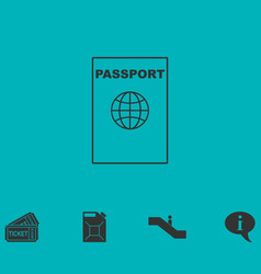 Passport line icon flat vector