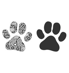 Paw footprint composition of service tools vector