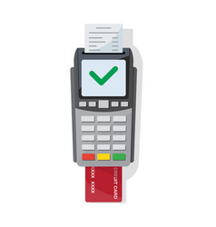 payment machine and credit card icon in flat style vector image