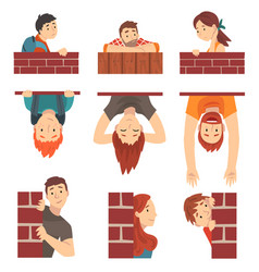 People hiding behind brick wall and peeping set vector