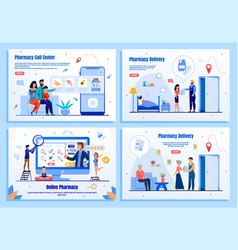 pharmacy online services flat webpage set vector image