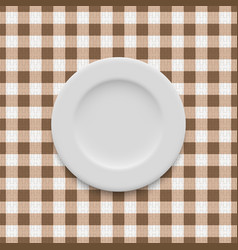 Plate on tablecloth vector