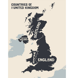 poster map contries united kingdom vector image