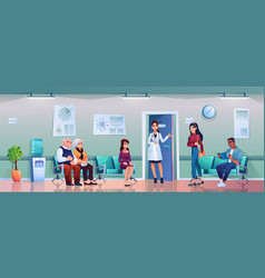 queue to doctor nurse invites patient hallway vector image