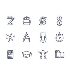school education line icons on white vector image