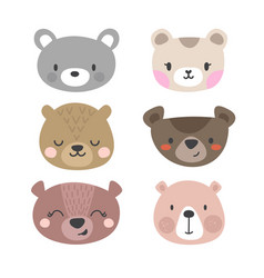 Set of cute bears funny doodle animals little vector
