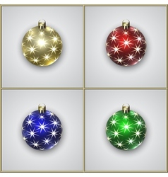 Set of Four Christmas Decoration Balls With Stars vector image