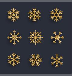 Set of golden glitter snowflakes on dark vector