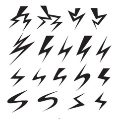 Set of power and lightning bolt icon vector