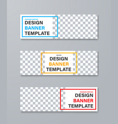 set web banners with place for photo and color vector image